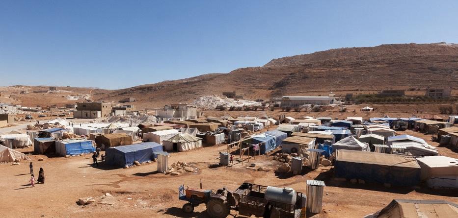 مخيم للاجئين السوريين في جرود عرسال اللبنانية