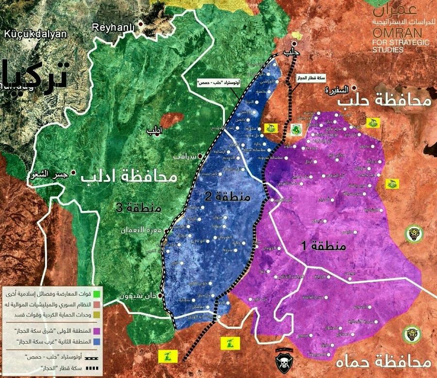 مناطق نشر قوات مراقبة خفض التصعيد في محافظة إدلب بموجب تفاهمات أستانة