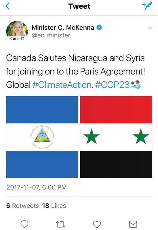 تغريدة الترحيب بقرار سوريا ونيكاراغوا الانضمام إلى اتفاقية باريس