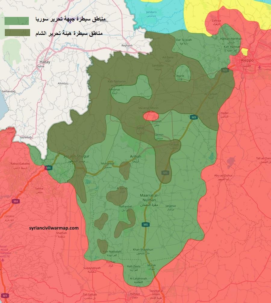 خريطة توضح مناطق النفوذ والسيطرة في محافظة إدلب بين جبهة تحرير سوريا وهيئة تحرير الشام