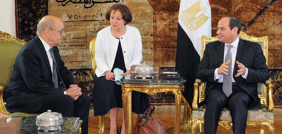 وزير الخارجية الفرنسي جان إيف لودريان بالقاهرة