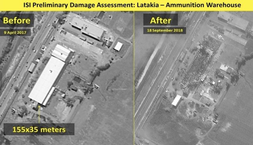 صورة للموقع العسكري الذي استهدفته الغارات الإسرائيلية في محافظة اللاذقية - 17 أيلول 2018