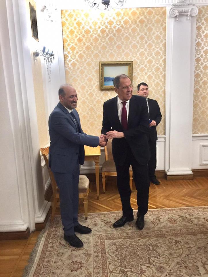 وزير الخارجية الروسي سيرغي لافروف خلال استقباله رئيس تيار الغد السوري أحمد الجربا - موسكو 7 شباط 2019