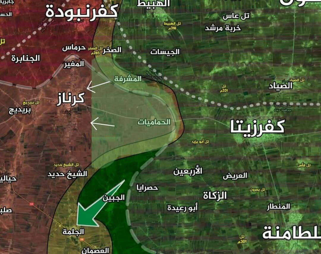 مواقع جديدة سيطرت عليها فصائل المعارضة بريف حماة الغربي - 11 تموز 2019