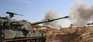 دبابة تركية تقصف مواقع قوات سوريا الديمقراطية في محيط مدينة رأس العين - 18 تشرين الأول 2019