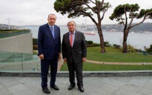 الأمين العام للأمم المتحدة خلال لقائه بالرئيس التركي رجب طيب أردوغان - تشرين الأول 2019