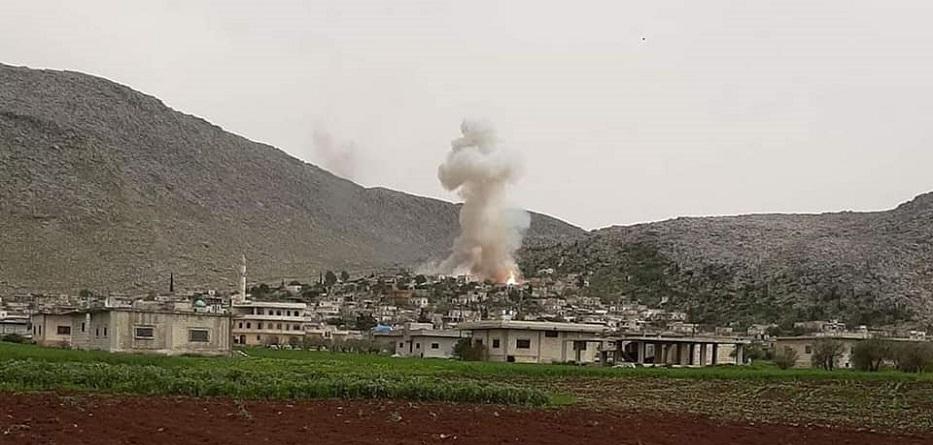 انفجار ببلدة الكستن بريف إدلب الغربي - 5 نيسان 2020