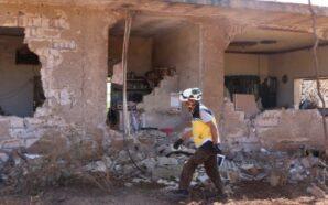 الدفاع المدني يتفقد موقعا تعرض للقصف الجوي في بلدة الموزرة في جبل الزاوية - 8 - حزيران 2020
